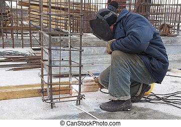 lavoratore, metallo, luogo, grata, costruzione, saldatura