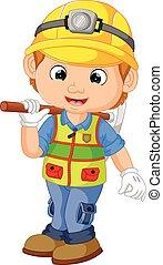 lavoratore, pickaxe, costruzione, riparatore, cartone animato