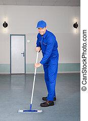 lavoratore, pulizia, pavimento