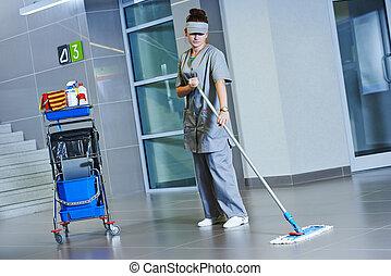 lavoratore, pulizia, pavimento, con, macchina