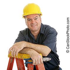 lavoratore, rilassato, costruzione