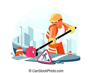 lavoratore, strada, servizio