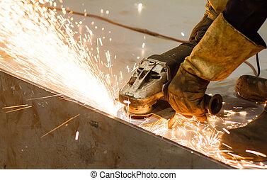 lavoratore, taglio, metallo