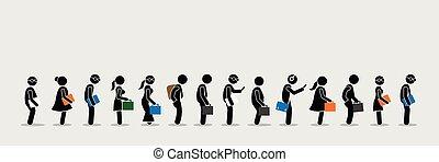 lavoratori ufficio, seekers, su, messa in lista d'attesa, linea., lavoro, impiegato, o