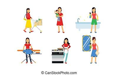 lavori domestici, illustrazione, quotidiano, set, vettore, caratteri, donne, fondo, isolato, routine, bianco