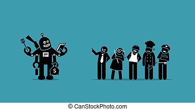 lavori, umano, presa, robot, future., sopra