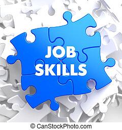 lavoro, abilità, concetto, su, blu, puzzle.
