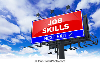 lavoro, abilità, iscrizione, su, rosso, billboard.