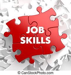 lavoro, abilità, su, rosso, puzzle.