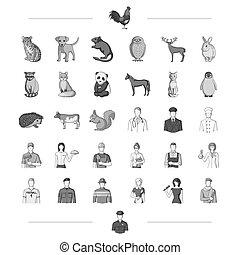 lavoro, altro, nero, paws, fauna, icona, web, set, collection., style., coda, icone, orecchie, professione