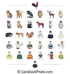 lavoro, altro, paws, fauna, icona, cartone animato, web, set, collection., style., coda, icone, orecchie, professione