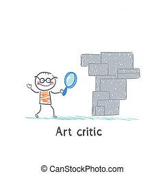 lavoro arte, vetro, critico, attraverso, occhiate, ingrandendo