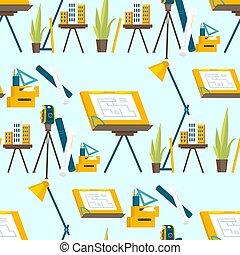 lavoro, attrezzi, set, architetto, lavorativo