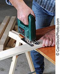lavoro, carpentiere, wood.