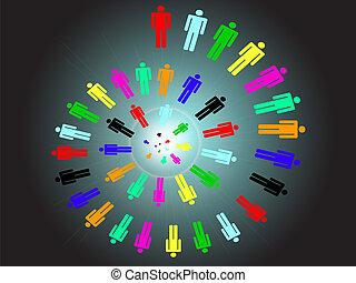 lavoro, concetto, colorito, squadra