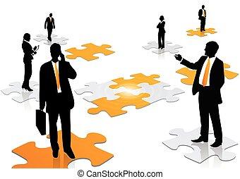 lavoro, concetto, illustrazione affari, squadra