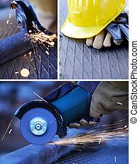 lavoro costruzione, collage