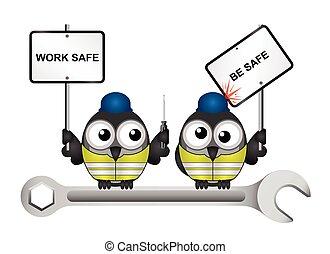 lavoro, costruzione, essere, sicuro, messaggio