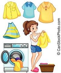 lavoro, donna, bucato