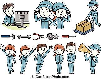 lavoro, donne, set, uomini, vestiti