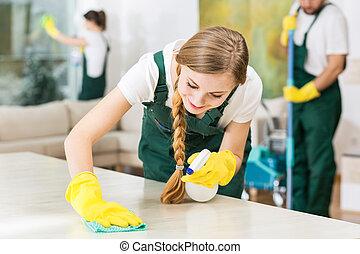 lavoro, giallo, guanti gomma, pulizia, durante, sorridente,...