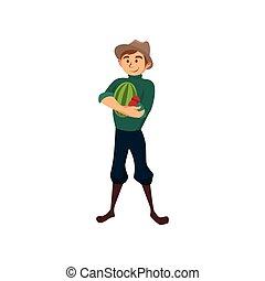 lavoro, illustrazione, anguria, vettore, contadino, maschio, cartone animato, giardiniere
