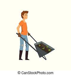 lavoro, illustrazione, vettore, terra, fondo, contadino, carriola, maschio bianco, giardiniere