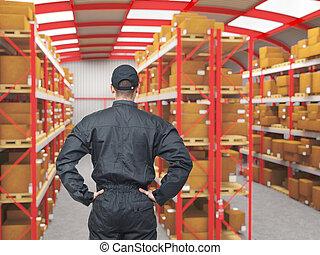 lavoro, in, magazzino
