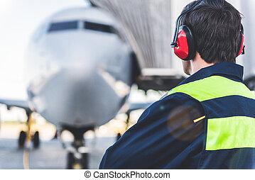 lavoro, ingegnere, detenere, aerodromo