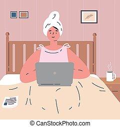 lavoro, lavorativo, casa, donna, laptop.remote