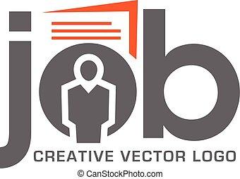 lavoro, logotipo, ricerca, domanda
