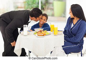 lavoro, padre, figlio, baciare, abbandono, prima