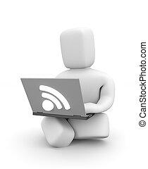 lavoro, persona, laptop, wifi, 3d