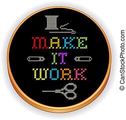 lavoro, ricamo, cerchio, esso, legno, fare