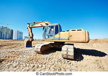 lavoro, scavatore, caricatore