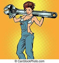 lavoro, sexy, tuta, donna, strappare