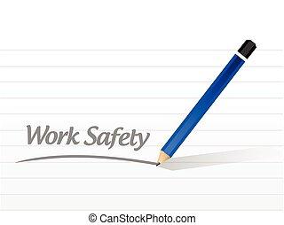 lavoro, sicurezza, messaggio, segno, illustrazione