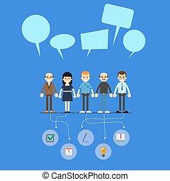 lavoro squadra, bandiera, rete, sociale