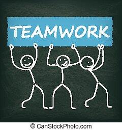lavoro squadra, bandiera, stickman, lavagna
