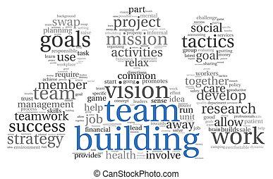 lavoro squadra, concetto, in, parola, etichetta, nuvola