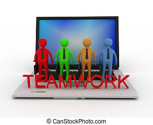 lavoro squadra, concetto, isolato, bianco, 3d, reso, illustration.
