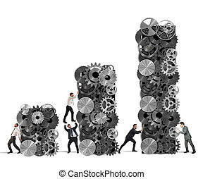 lavoro squadra, costruisce, corporativo, profitto