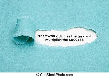 lavoro squadra, divide, compito, e, multiplies, successo