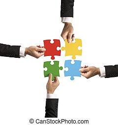 lavoro squadra, e, associazione, concetto