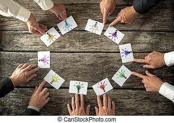 lavoro squadra, e, brainstorming, concetto