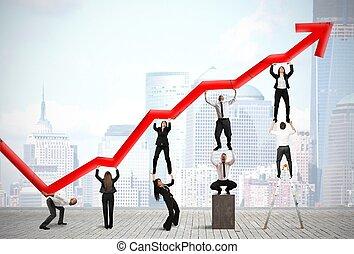 lavoro squadra, e, corporativo, profitto