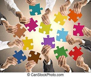 lavoro squadra, e, integrazione, concetto