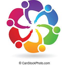 lavoro squadra, handshaking, logotipo