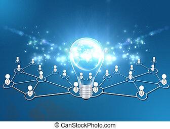 lavoro squadra, lampadine, idea, luce