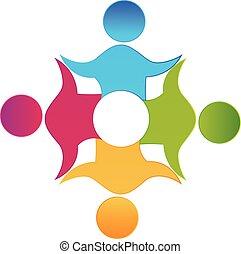 lavoro squadra, lavorante, persone, unità, disegno, logotipo